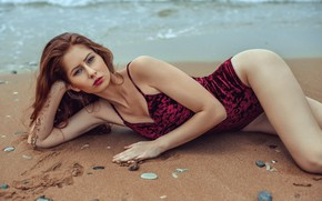 Picture sand, sea, beach, swimsuit, look, pose, model, pebbles, Stephanos Georgiou, Barbora Rugova