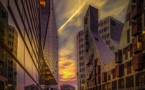 Picture reflection, street, home, the evening, Amsterdam, Netherlands
