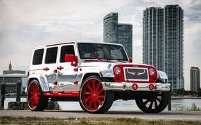 Picture wheels, with, Wrangler, Jeep, chrome, complete, forgiato, exterior, wrap
