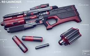 Wallpaper weapons, R0-LAUNCHER from the upcoming SCFI Book story, machine