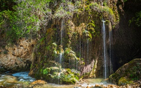 Picture nature, rock, waterfall, moss, waterfalls, crag