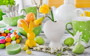 Wallpaper flowers, spring, candles, Easter, tulips, happy, flowers, tulips, spring, Easter, eggs, bunny, delicate, decoration, pastel