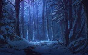 Wallpaper winter forest, twilight, snow, Iku Can To Ada, stream, art
