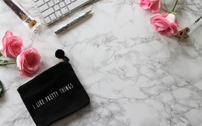 Wallpaper roses, handle, pink, flowers, roses, keyboard, marble