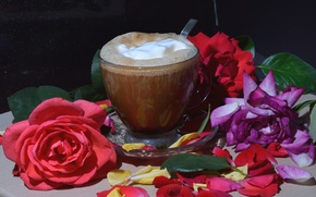 Picture flowers, coffee, roses, drink, foam