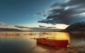 Picture sunset, lake, boat