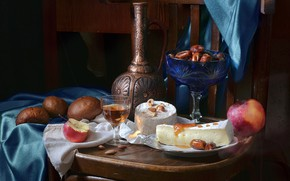Picture wine, Apple, cheese, bread, pitcher, nuts, still life, dates