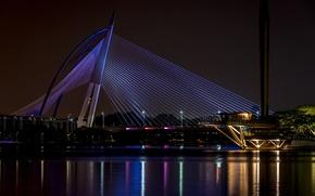 Picture city, light, bridge, night, malaysia, wawasan, seri, putrajaya, Serial wawasan bridge