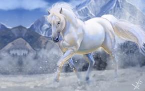 Wallpaper horse, winter, snow, art, mountains, Victor Lozada, Shadowfax
