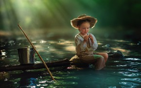 Picture fishing, bucket, child, pond, Morning
