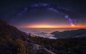 Wallpaper the sky, stars, light, mountains, night, fog, the way, the evening, morning, milky