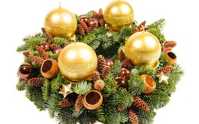 Picture decoration, balls, tree, candles, New year, gold