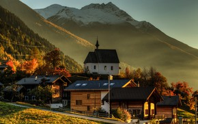 Picture autumn, forest, the sky, the sun, trees, mountains, home, Switzerland, Goms, Wallis, Stone house