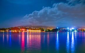Picture sea, the sky, lights, Jamaica, Jamaica