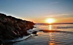 Picture sea, the sky, the sun, dawn, shore