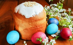 Picture flowers, spring, Easter, cake, eggs