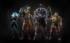 Picture girl, gun, logo, game, armor, weapon, woman, man, shotgun, pose, rifle, strong, Quake Champions, Quake