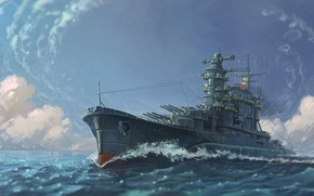 Picture wave, the ocean, oil, bursts, art, watercolor, pencil, Navy, painting, battleship, battleship, gouache, full course, ...