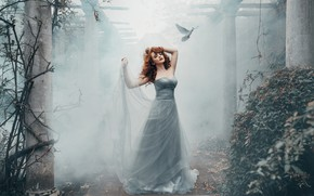Wallpaper pose, Miss Deadly Red, the situation, columns, dove, girl, mood, bird, Nicky Robinson, dress