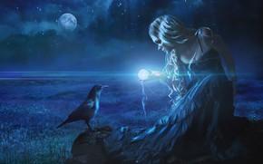 Picture girl, night, Raven, photoart