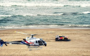 Wallpaper Sand, The ocean, Sea, Beach, Auto, Wave, Sport, Machine, Speed, Helicopter, Race, Peugeot, Red Bull, ...