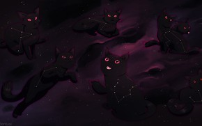 Picture cats, constellation, by MarikBentusi
