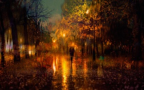 Wallpaper autumn, girl, the evening, Russia, lights, the city, rain, Saint Petersburg, umbrella