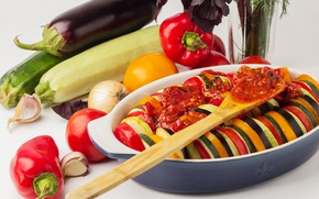 Picture food, eggplant, vegetables, tomatoes, garlic, zucchini, red pepper, casserole