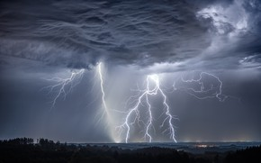 Wallpaper element, lightning, the sky, Germany