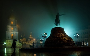 Picture night, lights, rain, area, lights, rider, Ukraine, Kiev, damp, pamatnik