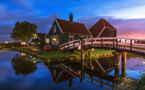 Picture the sky, light, house, home, Netherlands, the bridge
