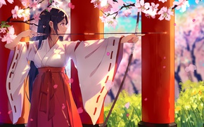 Picture beautiful, anime, miko, girl, oriental, bishojo, brunette, asiatic, bow, sakura, japanese, asian, pretty, arrow, seifuku