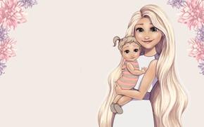 Picture flowers, baby, art, Disney, Princess, mood., Princesses