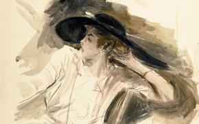 Picture figure, portrait, watercolor, Giovanni Boldini, Giovanni Boldini, Young Woman in Big Hat