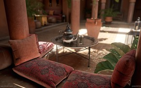 Picture pillow, kettle, columns, table, Moroccan Courtyard