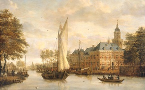 Picture landscape, tree, boat, oil, picture, sail, Nyenrode castle on the River Vecht in Breukelen, Jacobus …