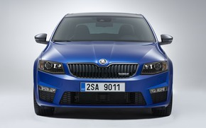 Wallpaper blue, background, sedan, the front, Skoda, 2013, Skoda, Octavia RS