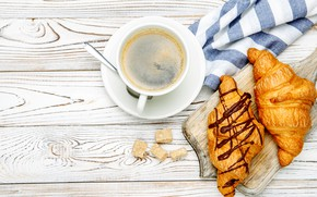 Picture table, coffee, spoon, Cup, Board, saucer, napkin, croissants