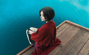 Picture water, girl, pier, in red