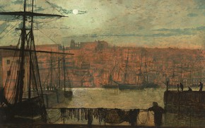 Picture clouds, ship, picture, The moon, mast, the urban landscape, John Atkinson Grimshaw, ray, John Atkinson …