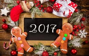 Wallpaper New Year, Christmas, christmas, balls, merry christmas, gift, decoration, xmas, gingerbread, 2017