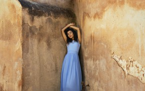 Picture face, wall, model, hair, dress, angle
