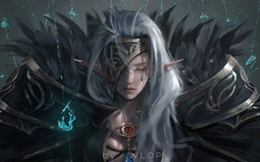 Wallpaper magic, warrior, anime, wlop, girl, armor, dungeon and fighter, elf