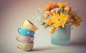Picture flowers, bouquet, Cup, mugs
