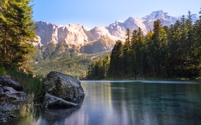 Picture forest, trees, mountains, lake, stones, rocks, Germany, Sunny, lake Eibsee