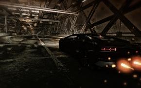 Picture road, drops, night, bridge, the city, rain, the game, Lamborghini, flash, exhaust, aventador, Matt, the …