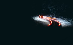 Picture winter, road, night, lights