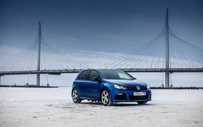 Picture car, machine, auto, city, car, car, cars, auto, golf, smoke, bridge, blue, golf r, revo, …