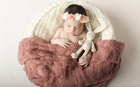 Picture toy, sleep, baby, sleeping, girl, Bunny, baby, baby, chest