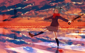 Picture autumn, the sky, water, reflection, umbrella, scarf, puddle, the transition, knee, vocaloid, Hatsune Miku, Vocaloid, …